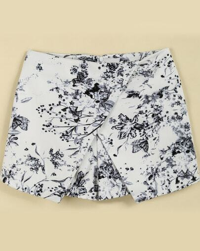Grey Floral Butterfly Print Shorts