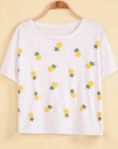 White Short Sleeve Pineapple Print Loose T-Shirt