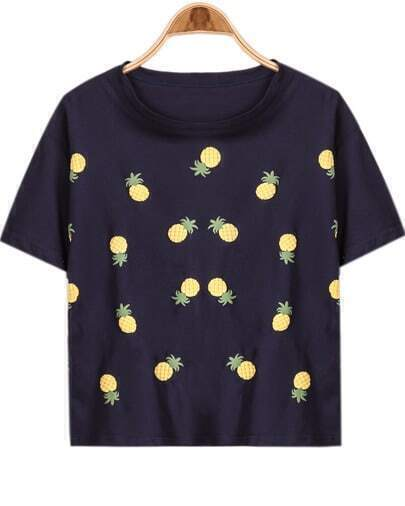 Navy Short Sleeve Pineapple Print Loose T-Shirt