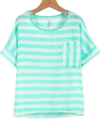 Green White Striped Pocket Loose T-Shirt