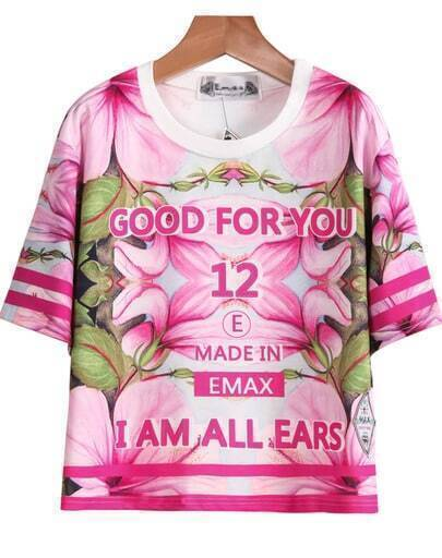Pink Short Sleeve Letters 12 Print T-Shirt