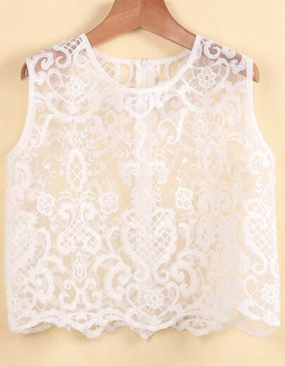 White Sleeveless Embroidered Sheer Vest