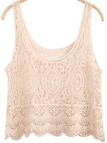 Apricot Sleeveless Hollow Lace Cami Top