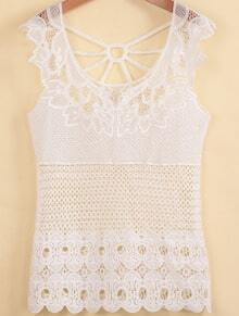 White Sleeveless Hollow Sheer Vest