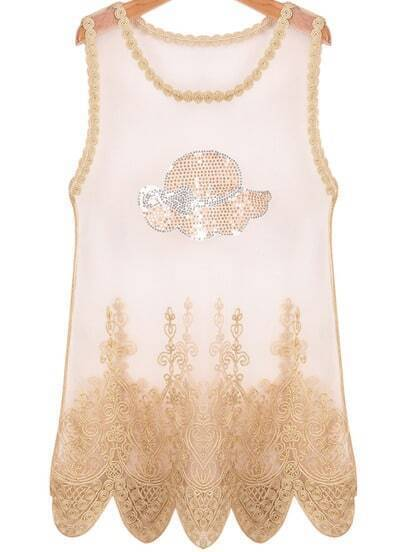 Gold Sleeveless Embroidered Sheer Mesh Yoke Vest