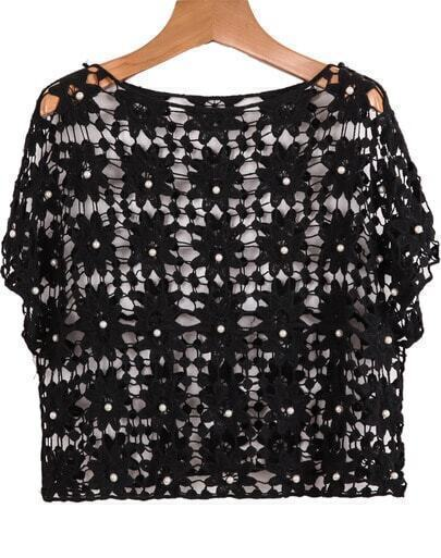 Black Short Sleeve Hollow Bead Top