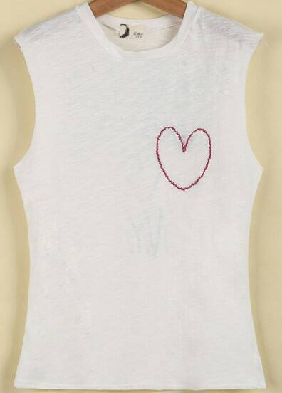 White Sleeveless Letters Heart Print Vest