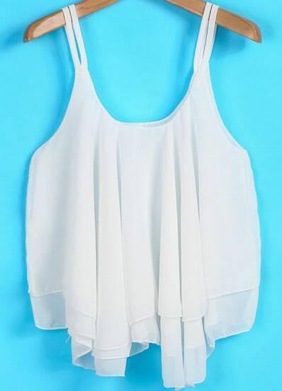 White Spaghetti Strap Pleated Loose Chiffon Vest