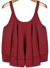 Red Spaghetti Strap Pleated Loose Chiffon Vest