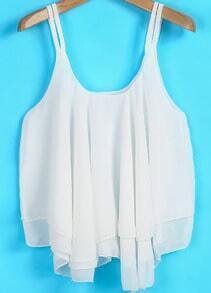 White Spaghetti Strap Pleated Loose Chiffon Vest