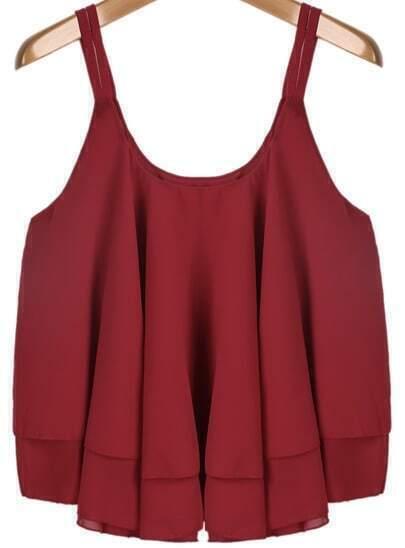 Red Spaghetti Strap Pleated Loose Chiffon Vest