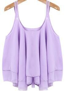 Purple Spaghetti Strap Pleated Loose Chiffon Vest