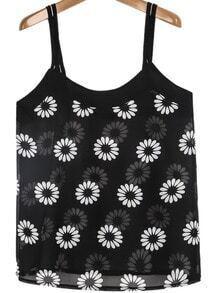 Black Spaghetti Strap Sunflower Print Chiffon Vest