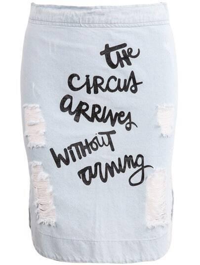 Blue Ripped Letters Print Denim Skirt