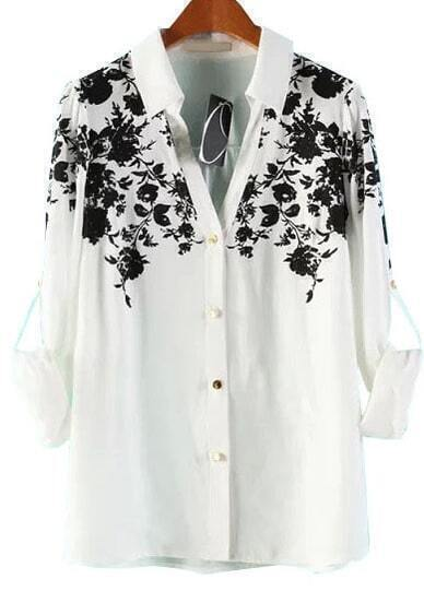 White Lapel Long Sleeve Floral Loose Blouse