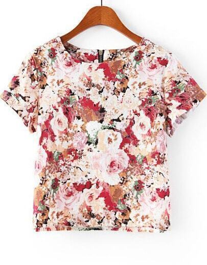 Red Short Sleeve Zipper Floral T-Shirt