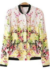 Yellow Long Sleeve Pockets Floral Jacket