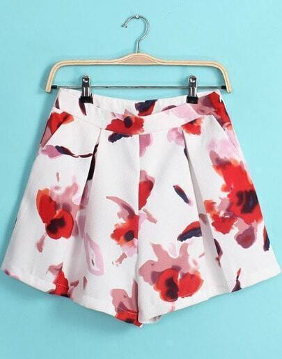 White Floral Pleated Loose Shorts