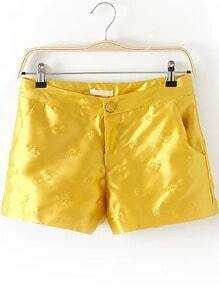 Yellow Pockets Embroidered Straight Shorts