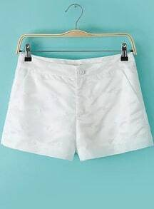 White Pockets Embroidered Straight Shorts