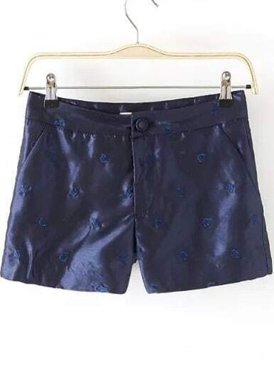 Blue Pockets Embroidered Straight Shorts