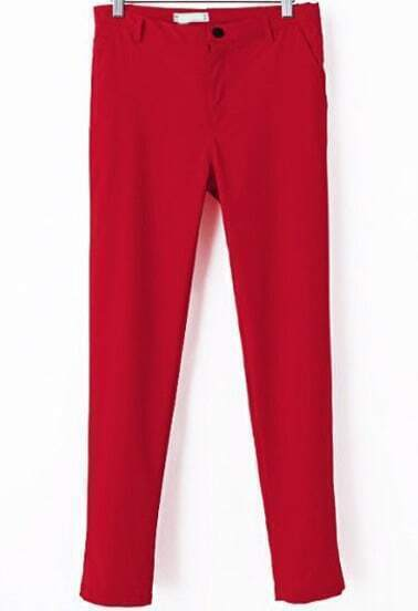 Red Casual Pockets Slim Pant