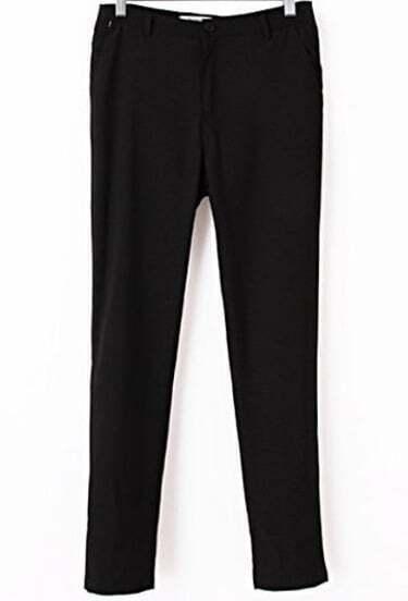 Black Casual Pockets Slim Pant