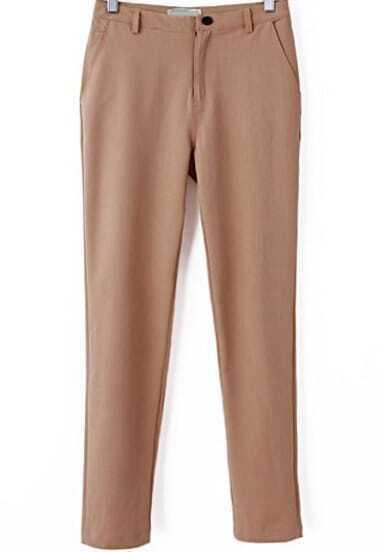 Khaki Casual Pockets Slim Pant