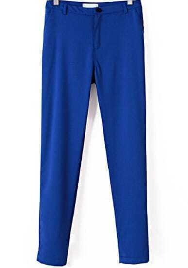 Blue Casual Pockets Slim Pant