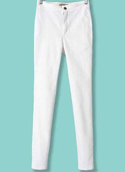 White High Waist Elastic Slim Pant
