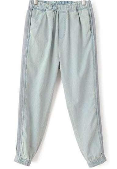 Grey Elastic Waist Vintage Loose Denim Pant
