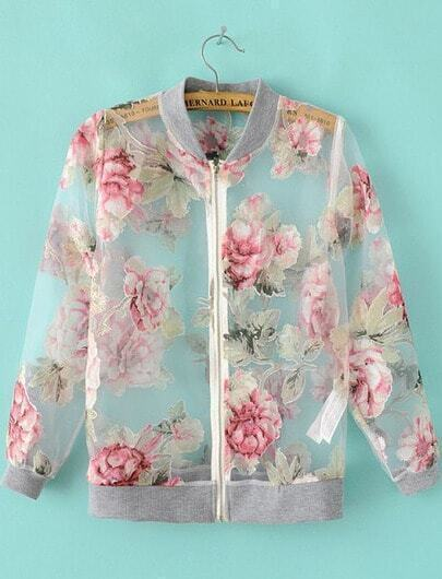 Grey Long Sleeve Floral Sheer Organza Jacket