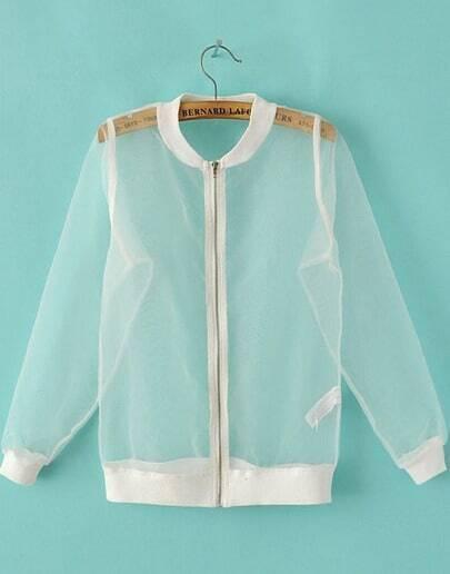 White Long Sleeve Sheer Organza Jacket