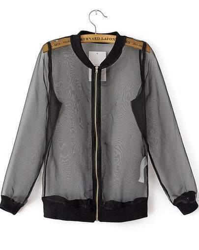 Black Long Sleeve Sheer Organza Jacket