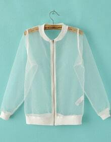 White Long Sleeve Sheer Organza Jacket