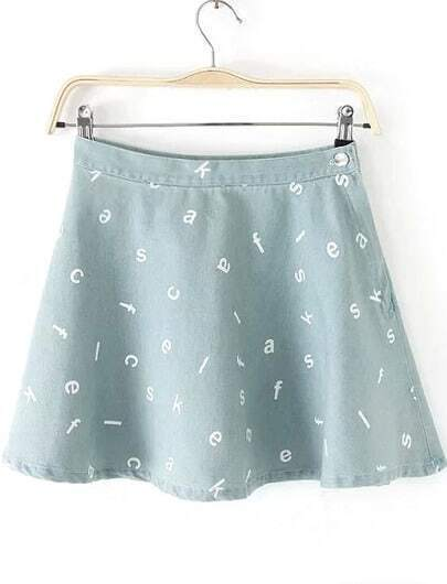 Light Blue Letters Print Denim Skirt