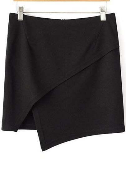Black Casual Asymmetrical Bodycon Skirt