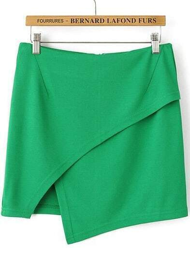 Green Casual Asymmetrical Bodycon Skirt