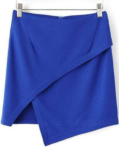 Blue Casual Asymmetrical Bodycon Skirt