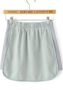 Light Blue Elastic Waist Contrast Gauze Denim Skirt