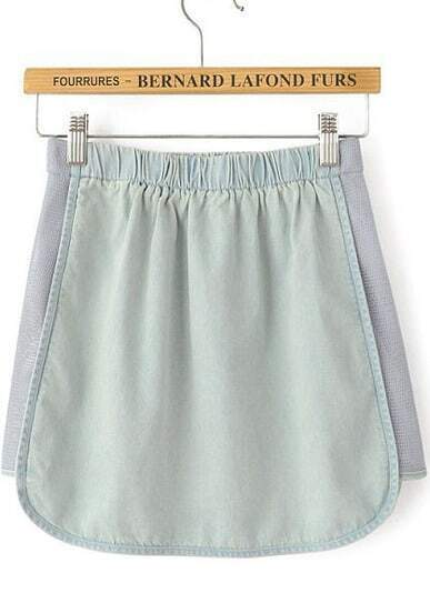 Light Blue Elastic Waist Contrast Gauze Denim Skirt