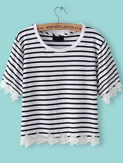 Black White Striped Floral Crochet T-Shirt