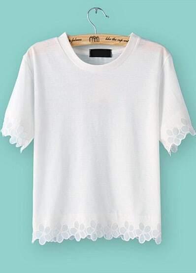 White Short Sleeve Floral Crochet T-Shirt