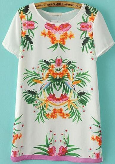 White Short Sleeve Floral Chiffon T-Shirt