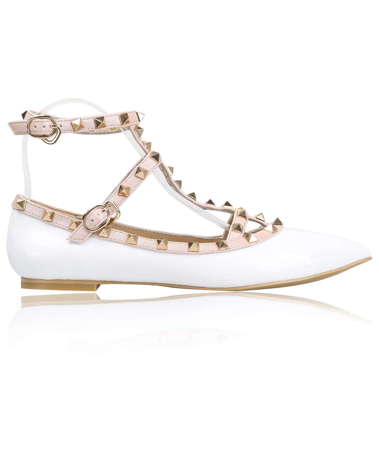 White Slingbacks Studded Point Toe Shoes