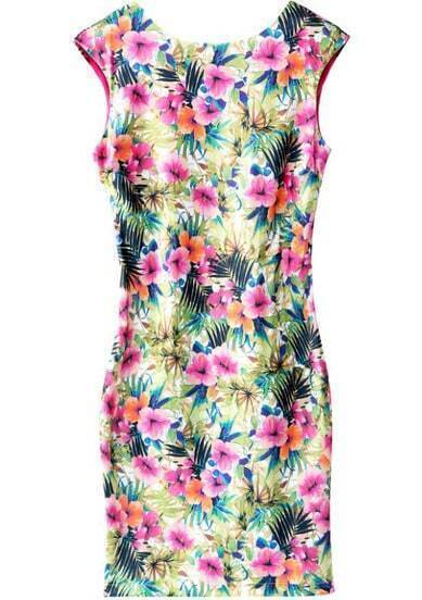 Red Cap Sleeve Floral Slim Bodycon Dress