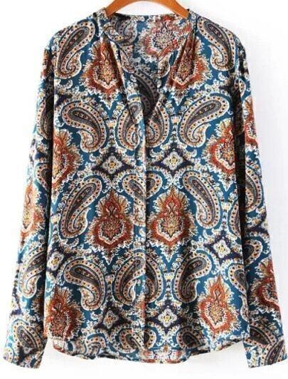 Blue Long Sleeve Vintage Cashews Print Blouse