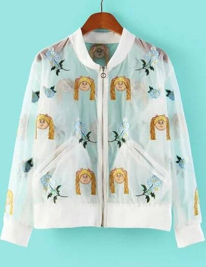 White Long Sleeve Girl Embroidered Pockets Outerwear
