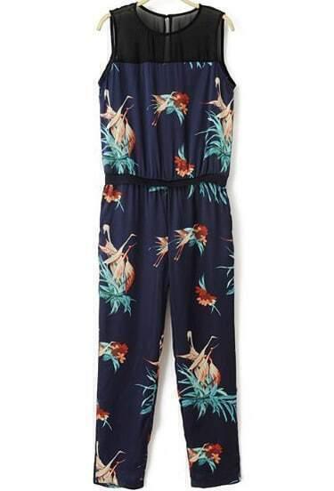 Navy Sleeveless Floral Elastic Waist Jumpsuit