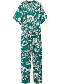 Green Half Sleeve Floral Drawstring Jumpsuit